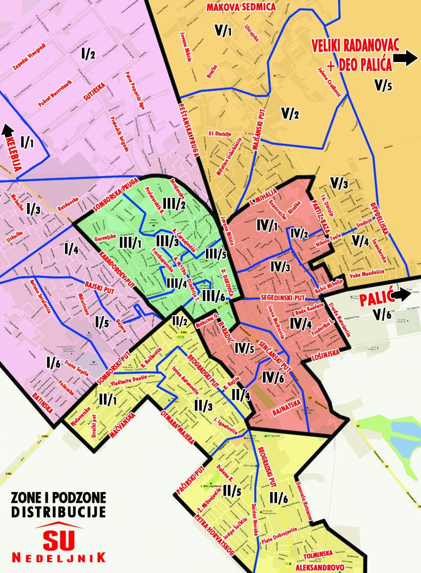 Mapa podele SU  Nedeljnik-a u Subotici